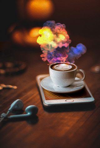 Обои на телефон 3d, colored smoke, oil painting, morning ink, 3д, дым, телефон, картина, утро, кофе, чернила, цветные, фотошоп