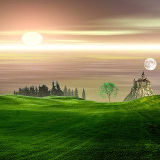 Обои на телефон холм, трава, солнце, природа, небо, луна, замок, деревья, дерево, горы