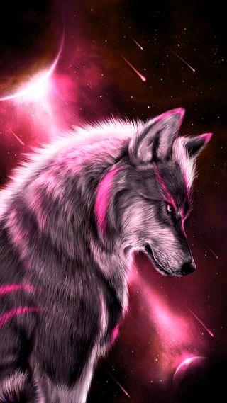 Обои на телефон фантазия, луна, звезды, волк