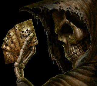Обои на телефон карты, череп, туз, смерть, рука, покер, мрачные, мертвый, зло, жнец, готические, dead mans hand
