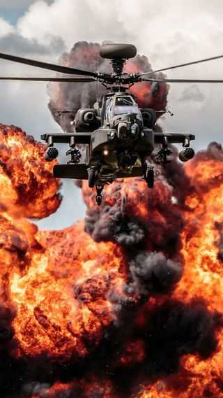 Обои на телефон взрыв, огонь, военные, вертолет, бомба, apache