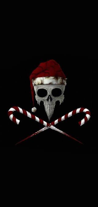 Обои на телефон черные, череп, темные, рождество, конфеты, plus, note 10, candycane