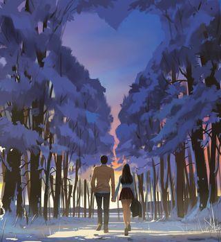Обои на телефон холод, ходячие, снег, рождество, пара, дерево, девушки, man