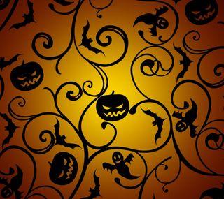 Обои на телефон хэллоуин, праздник, оранжевые, счастливые, летучие мыши