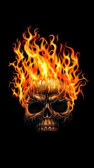 Обои на телефон пламя, черные, череп, темные