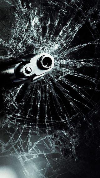 Обои на телефон сломанный, стекло, оружие, gun shot