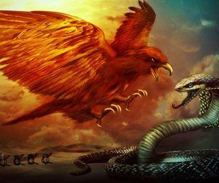 Обои на телефон кобра, змея, пустыня, орел, картина, животные, аниме, eagle and cobra, camels