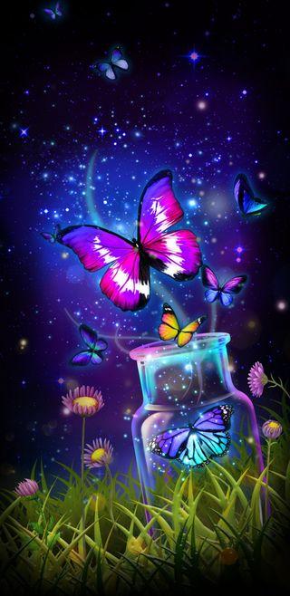 Обои на телефон яркие, симпатичные, светящиеся, прекрасные, красочные, девчачие, волшебные, бабочки, releasethemagic