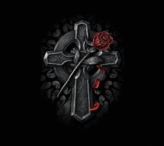Обои на телефон крест, темные, розы