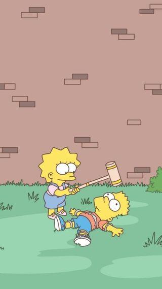 Обои на телефон лиза, тв, симпсоны, серия, барт, lisa y bart, hd, fondo