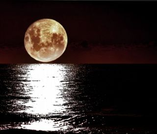 Обои на телефон горизонт, природа, океан, луна