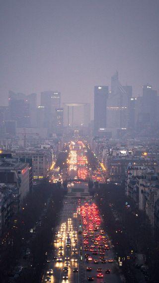 Обои на телефон улица, туман, машины, город