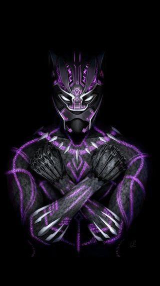 Обои на телефон пантера, черные, фиолетовые, фильмы, марвел, герой, t challa, marvel