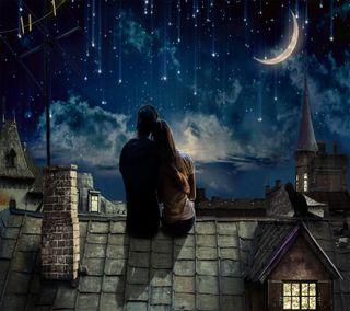 Обои на телефон тихий, любовники, ночь, любовь, луна, silent love, love