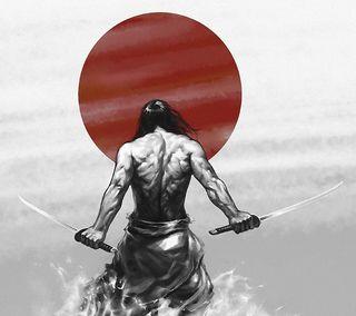 Обои на телефон самурай, японские, флаг, меч