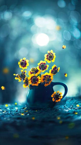 Обои на телефон сверкающие, цветы, цветочные, природа, желтые