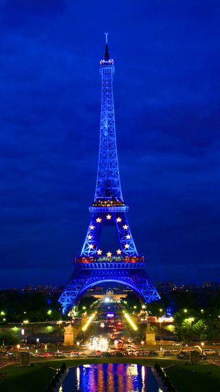 Обои на телефон франция, сияние, синие, париж, огни, ночь, неоновые, город, башня, night in paris, neon shine