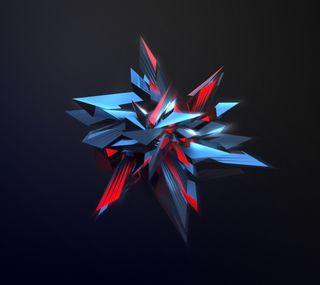 Обои на телефон многоугольник, черные, синие, красые, абстрактные