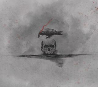 Обои на телефон готические, темные, смерть, серые, птицы, минимализм, кровь, ворона, ворон, raven property