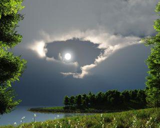 Обои на телефон облачно, солнце, природа, пейзаж, озеро, облака, луна, лес, деревья