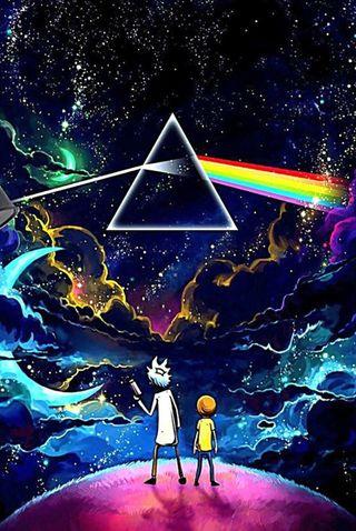 Обои на телефон странные, рик, радуга, морти, луна, красочные, космос