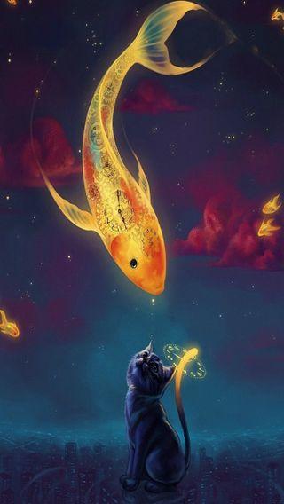 Обои на телефон часы, рыба, небо, кошки, золотые, gold fish