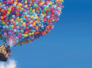 Обои на телефон полет, дом, flying house, ballony