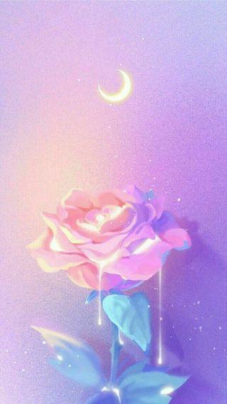 Обои на телефон рисунки, синие, розы, розовые, пастельные, ночь, луна, арт, pastels, pastel night, art