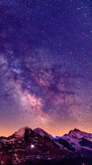 Обои на телефон горы, небо, звезды