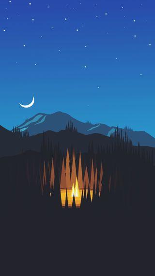 Обои на телефон поход, огонь, на улице, минимализм, лагерь, bonfire, 929