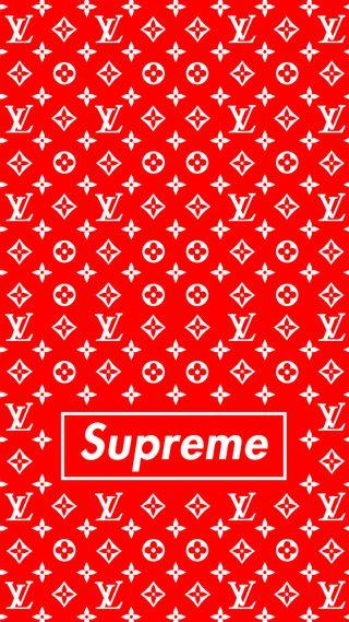Обои на телефон луи витон, красые, дизайн, supreme x lv, supreme