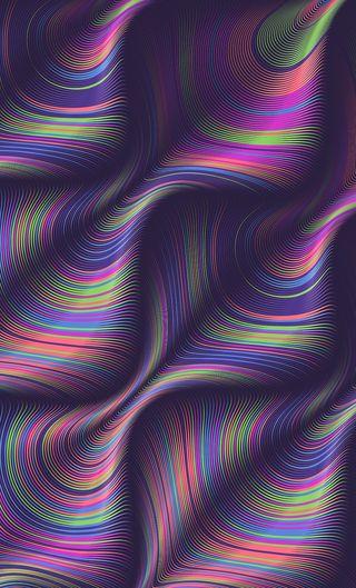 Обои на телефон волна, цветные, радуга