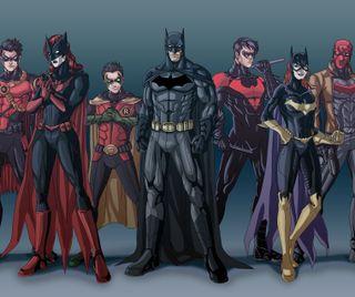 Обои на телефон семья, робин, красые, капюшон, бэтмен, nightwing, batwoman, batman family, batgirl