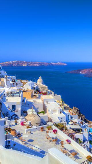 Обои на телефон архитектура, прекрасные, остров, греция