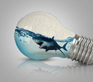 Обои на телефон рыба, манипуляция, лампочка, животные, дизайн, fish in bulb