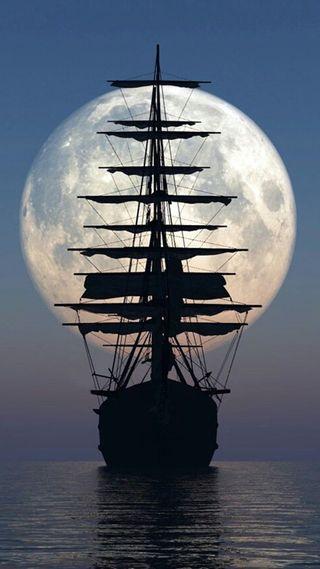 Обои на телефон корабли, море, луна, ship 7