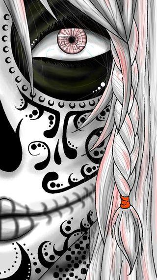 Обои на телефон сахар, череп, хэллоуин, лицо, девушки, sugar skull