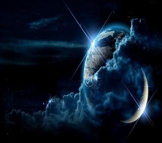 Обои на телефон темные, луна, земля, hd, earth and moon