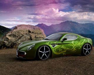 Обои на телефон вечер, скорость, небо, машины, горы, гоночные, автомобили, romeo 8c, alfa romeo