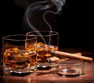 Обои на телефон сигара, релакс, напиток, лед, дым, виски, алкоголь, cognac