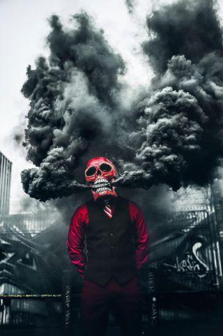 Обои на телефон маска, дым, череп, бомба, smokebomb, smoke bomb