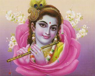 Обои на телефон кришна, розы, vir92-krishna, in rose