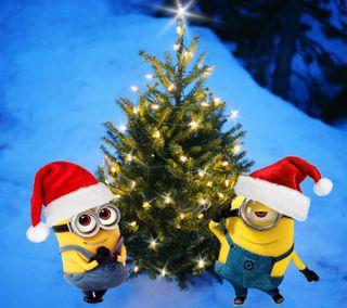 Обои на телефон санта, снег, рождество, огни, миньоны, зима, дерево