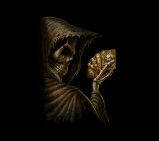 Обои на телефон карты, череп, мрачные, жнец