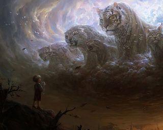 Обои на телефон мечта, фантазия, тигр, ребенок, облака, молитва, малыш, животные, дикие, pray for animals