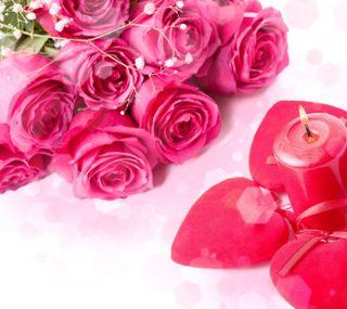 Обои на телефон свеча, розы, розовые, любовь, день рождения, день, 2160x1920px, love