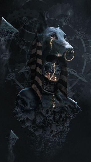 Обои на телефон египет, череп, темные, бог, pharoah, anubis