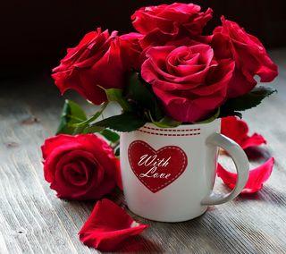 Обои на телефон чашка, розы, любовь, красые, love, cup