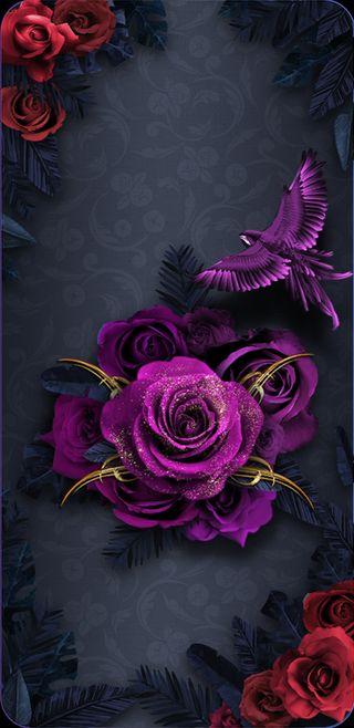 Обои на телефон девчачие, фиолетовые, фантазия, симпатичные, розы, птицы, прекрасные, золотые, thorns
