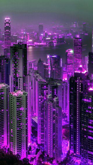 Обои на телефон hong kong, purple hong kong, абстрактные, крутые, новый, фиолетовые, город, здания, страна, конг